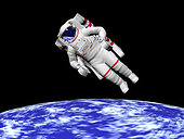 Astronaut floating in outer space above planet Earth.