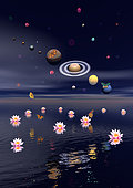 Planets of the solar system surrounded by several nebulae, planets and flying butterflies upon the ocean covered with lotus flowers.