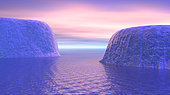 Two icebergs face to face in the ocean with pink and violet sunrise.