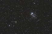 NGC 457, the Owl Cluster, in the constellation Cassiopeia.