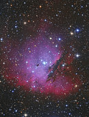Pacman Nebula, NGC 281. It is a bright emission nebula in the northern constellation of Cassiopeia.