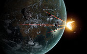 A laser anti-asteroid defense system built on an extraterrestrial world.