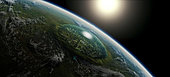 The people of this world have managed to poison their atmosphere by building a giant domed city in an asteroid crater as a last refuge.