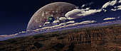 Artist's concept of a canyon on an extraterrestrial world with planets rising in the background.