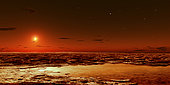 Spring arrives near the Martian polar cap. Ice begins to thaw and briney pools of water collect beneath the icy slush. As the dim sun climbs higher in the sky the ice will retreat and any remaining water will be absorbed into the loose sandy surface.