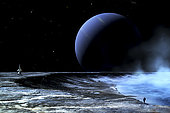 An astronaut is standing on the edge of a lake of liquid methane at the bottom of a large impact crater. Exploring the moon of a distant gaseous planet is a lonely and dangerous calling for a lone space traveler.