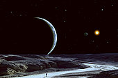 A lone explorer follows an ancient riverbed in his quest for rare mineral deposits while his cloud-covered home planet floats serenely in the black star-filled sky. A companion moon can be seen with the systems' single star beyond.