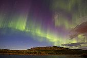 Aurora borealis with moonlight at Fish Lake, Whitehorse, Yukon, Canada.
