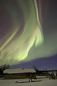 Aurora borealis over Fish lake with Orion's Belt, Whitehorse, Yukon, Canada.