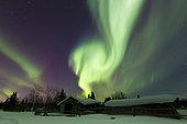 Aurora borealis takes flight over a log cabin in Whitehorse, Yukon, Canada.