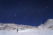 In this moonlight night, the winter constellations are visible above the Himalayas in Sagarmatha National Park of Nepal.
