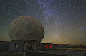 The Milky Way from Cassiopeia to Auriga appears over the Delinha observatory in Qinghai province of China. The dome, housing a 13.7m millimeter radio telescope, is widely used for the study of molecular cloud structure, physical and chemical environment of star formation regions.