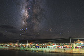 The central bugle of the Milky Way appears over Yaqing monastery, Garze Tibetan Autonomous Prefecture in Sichuan province of China.