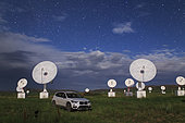 Moonlight illuminated the Mingantu CSRH Station in Inner Mongolia, China. The Chinese Spectral RadioHeliograph (CSRH) is a state-of-the-art imaging telescope array, which will operate at centimeter and decimeter wavelengths. It has 100 antennas with diameters of 2.0 and 4.5 m in a 3-arm spiral array. It will obtain full imaging observations of the solar chromosphere and corona by using aperturesynthesis technology.