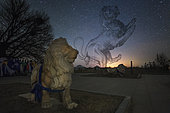 Constellation Leo rise above the guardian lions at Inner Mongolia of China. The view of both Earth and sky attract my attention of Cultural depictions of lions.