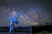 A radio telescope is working under the Milky Way galaxy at Nanshan observatory near Urumchi, Xinjiang, China. Mars is visible near the center of galaxy.