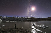 A panorama view of Milky Way and moon shine above a glacier in the Himalayas of Tibet, on the border of China and Bhutan. The photographer made a self-portrait in front of the ice lake.