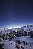 The winter Milky Way shines above the snow-covered Alborz Mountain Range in Iran.