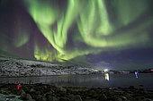 January 7, 2019 - Aurora borealis dances above the Arctic Ocean from Teriberka, Murmansk, Russia.
