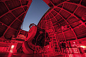 Inside view of the 60-inch telescope at Mount Wilson Observatory, California, USA.