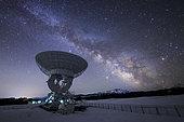 Milky Way rises above the 25m radio telescope at the Nanshan observatory near Urumchi, Xinjiang, China