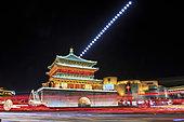 Moonrise above Gulou tower in Xian, China.