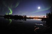Aurora borealis over Long Lake, Yellowknife, Northwest Territories, Canada.