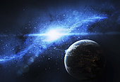 A paradise world with a huge city looks out on a beautiful nebula.