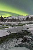 Aurora borealis over Annie Lake, Yukon, Canada.