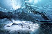 View under a glacier in Alaska.
