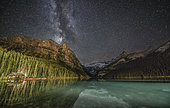 Milky Way over Lake Louise in Banff National Park, Alberta, Canada.
