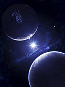 Humanity's first attempt to establish a large and individual city on another planet. The large space station acts as a customs agent and gate into the world.