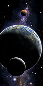 An artist's depiction of an Earth type world with two orbiting moons.
