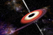 An artist's depiction of a black hole and it's accretion disk in interstellar space pulling in gas and dust from a nearby nebula. Gamma ray bursts exit at the black hole's poles and shoot into space.