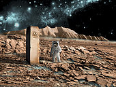 An artist's depiction of an astronaut on an alien world making a discovery of an artifact that is an indication of past intelligent life. The world is barren and rocky with a poisonous mist. The astronaut image is courtesy of NASA.