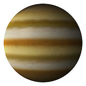 Artist's depiction of a gas giant planet on a white background.