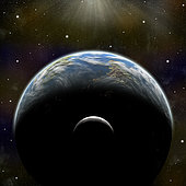 An artist's illustration of an Earth-like planet alone in space with it's orbiting moon. A thick atmosphere that blankets the planet is illuminated by a nearby star.