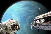 An artist's depiction of a team of astronauts performing work on a space station while orbiting a large, water covered alien planet.