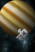 Artist's concept of an astronaut floating in outer space. An Jupiter-like planet forms the background.