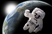 Artist's concept of an astronaut floating in outer space. An Earth-like planet sees sunrise in the background.