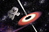 Artist's concept of an astronaut falling towards a black hole in outer space. Gamma Rays erupt from the poles as a nearby nebula is pulled in.