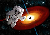 Artist's concept of an astronaut floating in outer space as he is pulled towards a massive black hole. Gamma ray bursts erupt from the poles of the singularity.