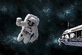 Artist's concept of astronaut floating in outer space while his fellow astronauts work on the space station. A galactic scene serves as background.