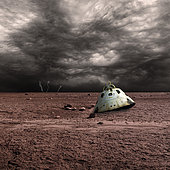 A scorched space capsule lies abandoned on a barren world. Storm clouds and lightning are in the background.
