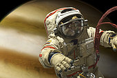 A cosmonaut floats in space above a large alien planet.