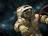 A cosmonaut floats in deep space against a background of stars and nebula.