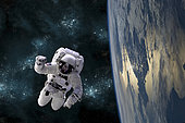 An artist's depiction of an astronaut floating in space while orbiting a large, Earth-like planet.