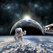 A team of astronauts work on a space station in orbit over a cloud covered world. A neighboring Earth-like planet sees the radiance of a nearby sunrise.