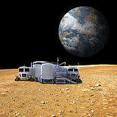 An artist's depiction of a lunar base on a barren moon. The moon's Earth-like planet rises in the background. The small colony is equipped with two rovers for astronauts to use for exploration of the surface. - Elements of this image furnished by NASA