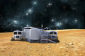 An artist's depiction of a planetary base on a barren world. The small colony is equipped with two rovers for astronauts to use for exploration of the surface. - Elements of this image furnished by NASA